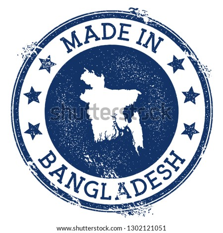 Made in Bangladesh stamp. Grunge rubber stamp with Made in Bangladesh text and country map. Decent vector illustration.