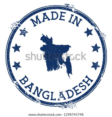 Made in Bangladesh stamp. Grunge rubber stamp with Made in text and country map. Delicate vector illustration.
