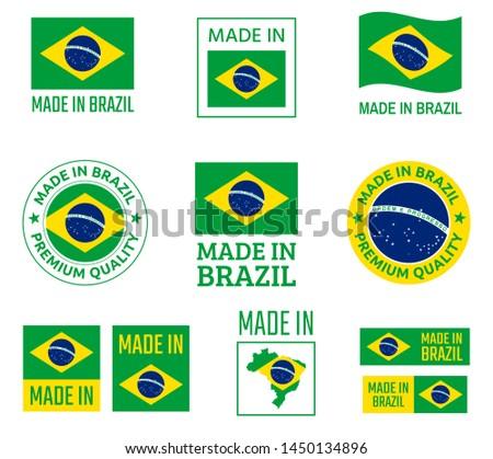 made in Brazil labels set, Federative Republic of Brazil product emblem