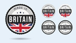 Made in Britain. Set of labels and badges. Merchandise tag with British flag.