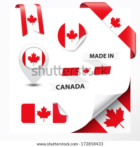 Made in Canada collection of ribbon, label, stickers, pointer, badge, icon and page curl with Canadian flag symbol on design element. Vector EPS10 illustration isolated on white background.