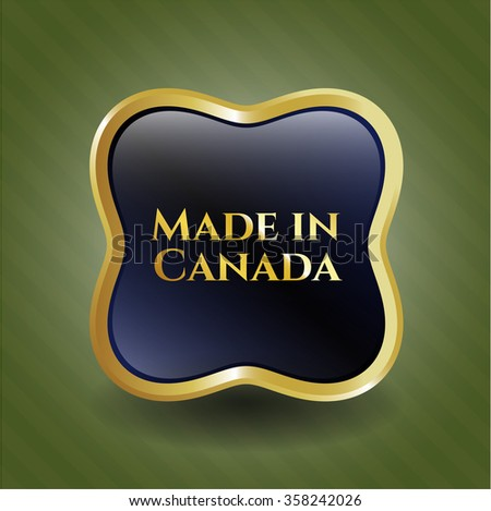 Made in Canada gold shiny badge