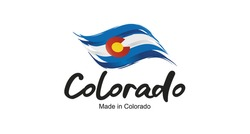 Made in Colorado handwritten flag ribbon typography lettering logo label banner