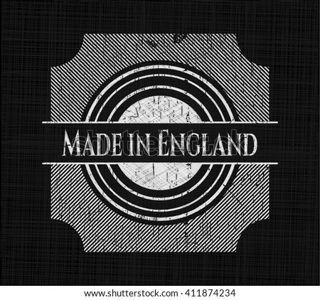 Made in England chalk emblem, retro style, chalk or chalkboard texture