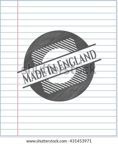 Made in England emblem with pencil effect