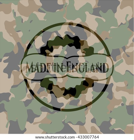 Made in England on camo pattern