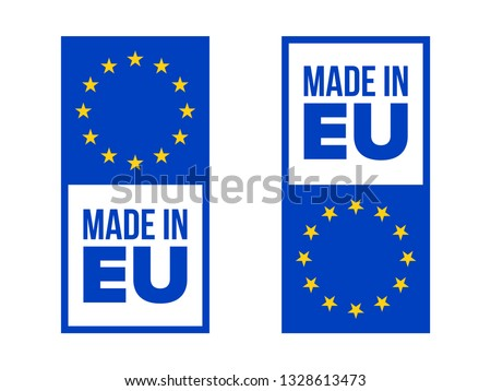 Made in EU quality certificate label with Europe flag stars. Vector made in European Union product warranty square tag