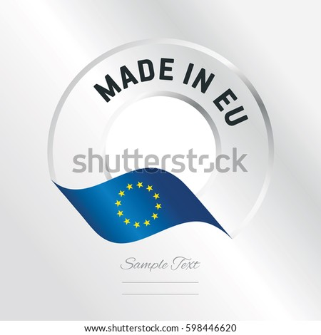 Made in EU transparent logo icon silver background