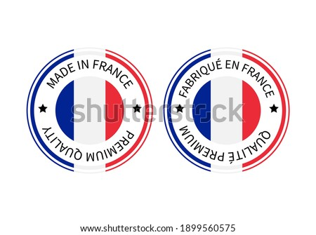 Made in France and Fabrique en France round labels in English and in French languages. Quality mark vector icon. Perfect for logo design, tags, badges, stickers, emblem, product package, etc.
