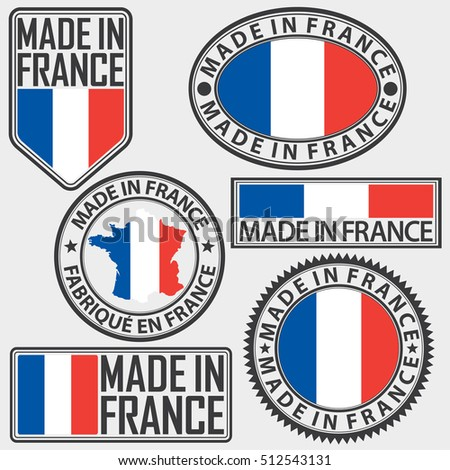 made in france label set with
