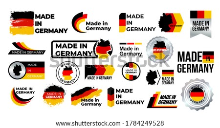 Made in Germany. Big set of label, stickers, pointer, badge, symbol and page curl with German flag icon on design element. Collection vector illustration. Isolated on white background. ストックフォト ©