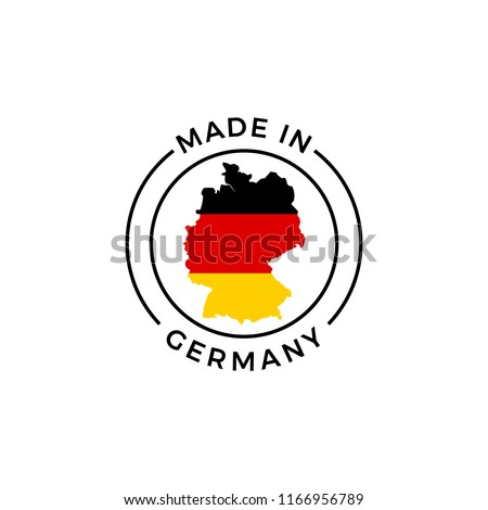 Made in Germany logo. Vector German flag in map quality label icon Foto d'archivio ©