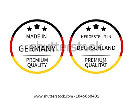 Made in Germany round labels (in English and in German languages). Quality mark vector icon. Perfect for logo design, tags, badges, stickers, emblem, product package, etc. Stockfoto ©