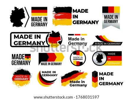 Made in Germany. Set of label, stickers, pointer, badge, symbol and page curl with German flag icon on design element. Vector illustration. Isolated on white background. Сток-фото ©
