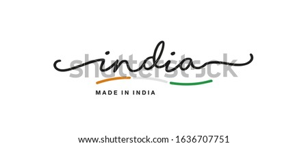 Made in India handwritten calligraphic lettering logo sticker flag ribbon banner