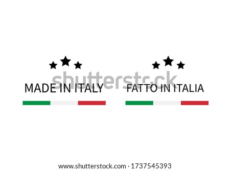 Made in Italy and Fatto in Italia labels (in English and in Italian languages). Quality mark vector icon. Perfect for logo design, tags, badges,  stickers, emblem, product packaging, etc.  Foto stock ©