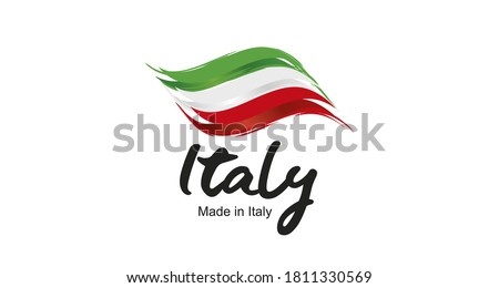 Made in Italy handwritten flag ribbon typography lettering logo label banner Foto stock ©