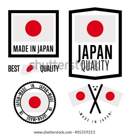 made in japan label set vector