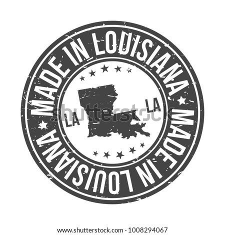Made in Louisiana State USA Quality Original Stamp Design Vector Art Tourism Souvenir Round
