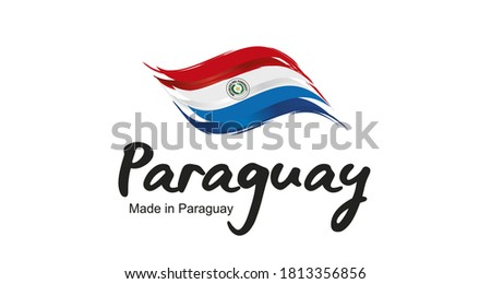 Made in Paraguay handwritten flag ribbon typography lettering logo label banner Foto d'archivio ©