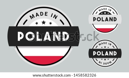 Made in Poland collection of ribbon, label, stickers, badge, icon and page curl with Poland flag symbol.