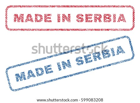 made in serbia text textile