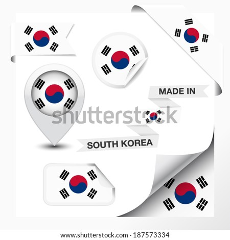 Made in South Korea collection of ribbon, label, stickers, pointer, badge, icon and page curl with South Korean flag symbol on design element. Vector EPS 10 illustration isolated on white background.