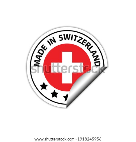 made in Swiss   vector stamp. badge with Swiss   flag