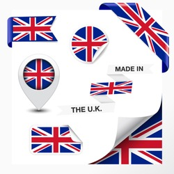 Made in The U.K. collection of ribbon, label, stickers, pointer, badge, icon and page curl with United Kingdom flag on design element. Vector EPS 10 illustration isolated on white background.