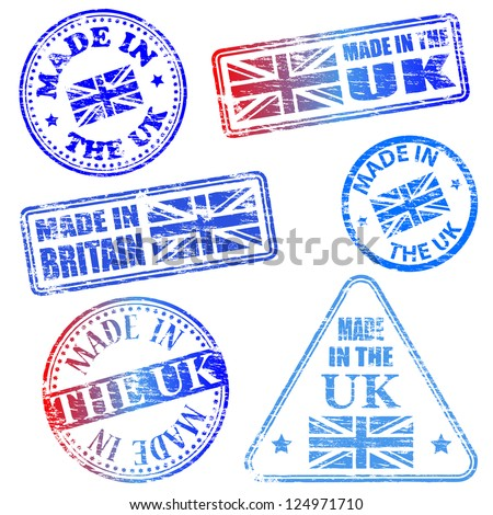 Made in the UK. Rubber stamp vector illustrations