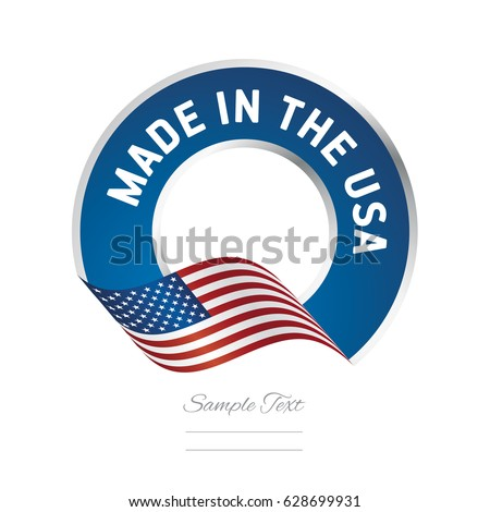 Made in the USA flag color label logo icon