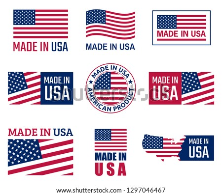 made in the usa labels set, american product emblem Stock fotó ©