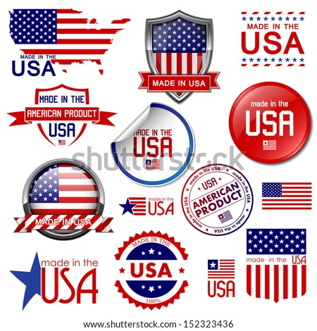 made in the usa set of vector