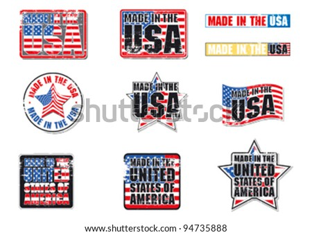 Made in the USA with grunge effect editable vector graphics.