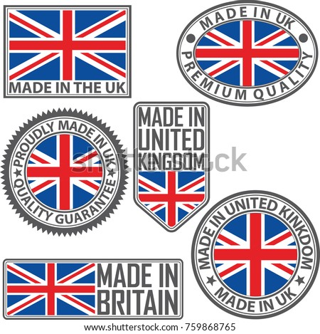 made in uk label set with flag