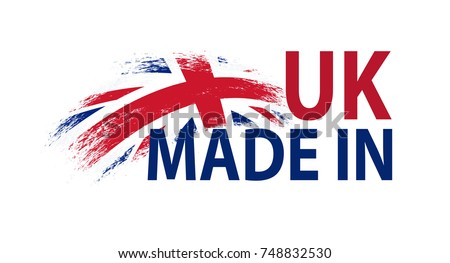 made in uk vector label with