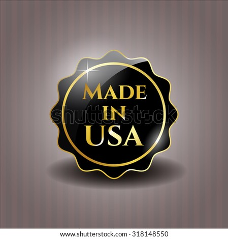 Made in USA black shiny badge