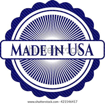 Made in USA emblem with jean texture