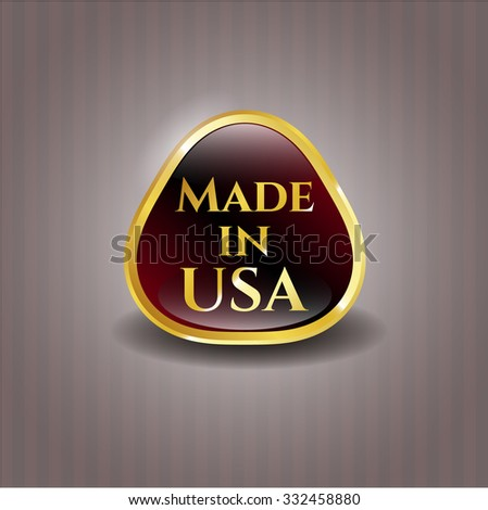 Made in USA gold shiny emblem