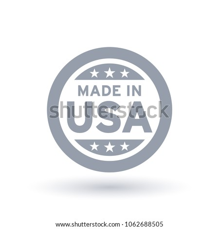 Made in USA icon in circle outline. American quality product symbol. Manufactured in the United States sign. Vector illustration.