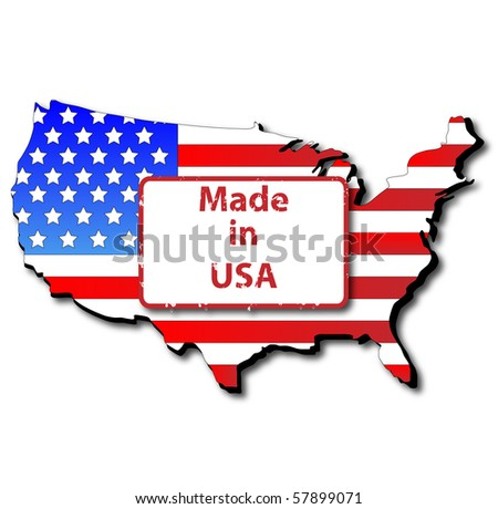 Made in USA, Map and Flag