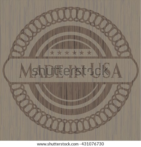 Made in USA retro style wood emblem