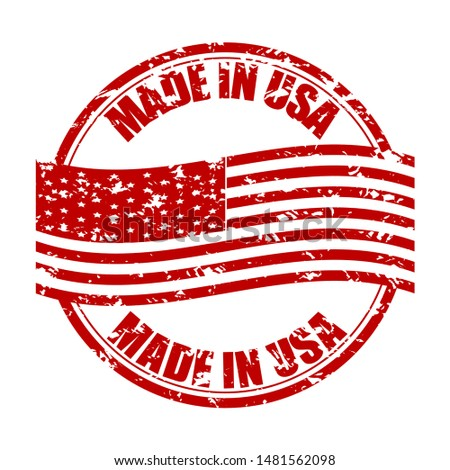 Made in USA rubber stamp with flag. Fabricated in america. Vector produced america, from usa rubber stamp, united states manufacture illustration