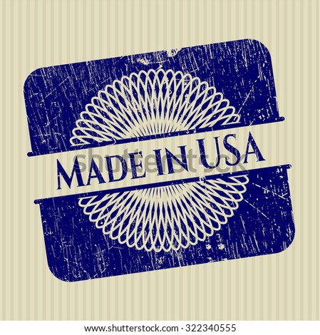 Made in USA rubber stamp with grunge texture