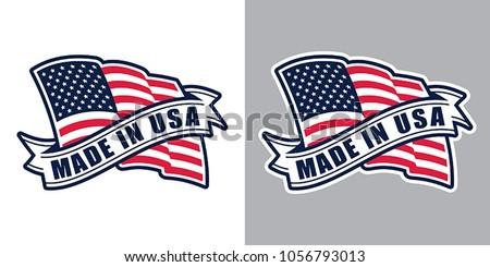 Made in USA (United States of America). Composition with American flag and ribbon for badge, label, pin, etc. Variants for light and dark backgrounds.