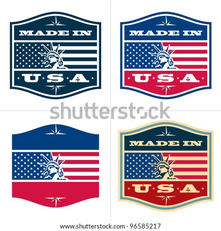 Made in USA. Vector badge, label.