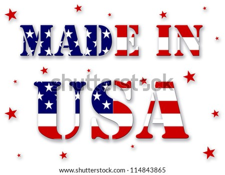 made in USA, with red and blue text