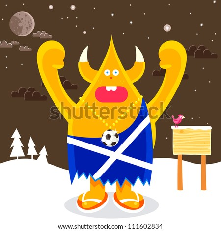 Made madness muppet Scottish character in snow with bird on sign