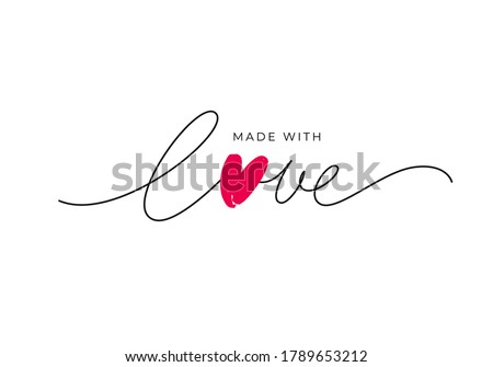 Made with love lettering with heart symbol. Hand drawn black line calligraphy. Ink vector inscription isolated on white background. Lettering for your handcrafted goods, product, shop, tags, labels Сток-фото ©