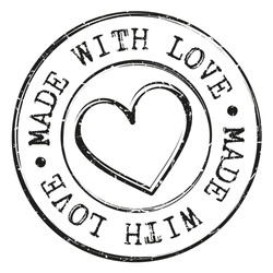 Made With Love Quality Stamp Round Design Vector Insignia Valentine's Day Badge.